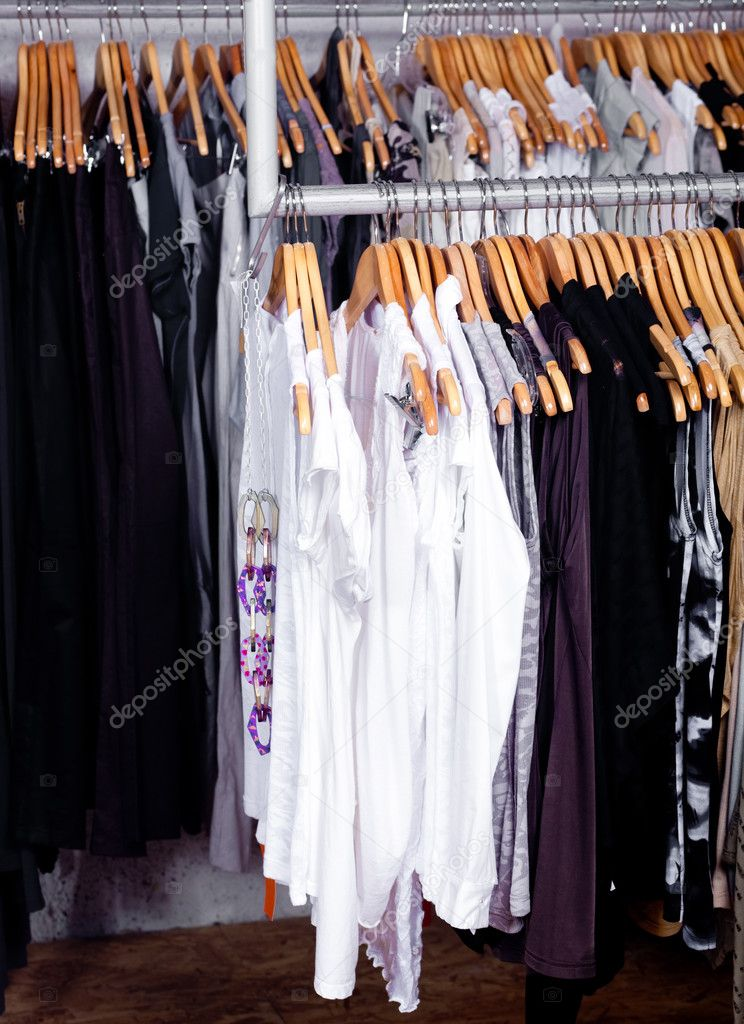 Wardrobe showcase in a retail shop  Stock Photo #3606143