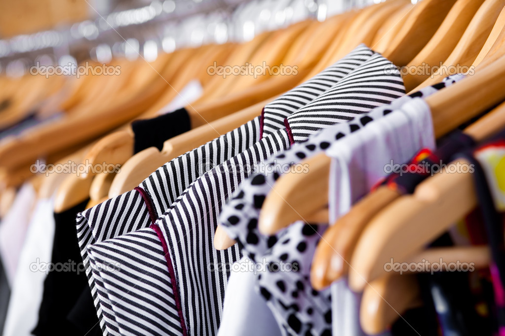 Multi-coloured wardrobe showcase, for sale, closeup view — Zdjęcie stockowe #3606155