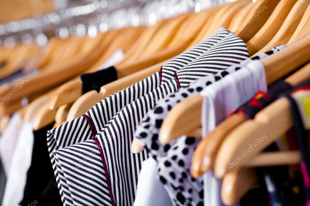 Multi-coloured wardrobe showcase, for sale, closeup view  Stock fotografie #3606155