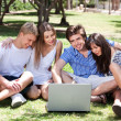 Friends enjoying movie in park on laptop — Stock Photo