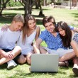 Friends enjoying movie in park on laptop — Stockfoto