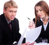 Confident businessman with his collegue — Stock Photo