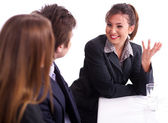 Businesswoman having healthy discussion — Stock Photo