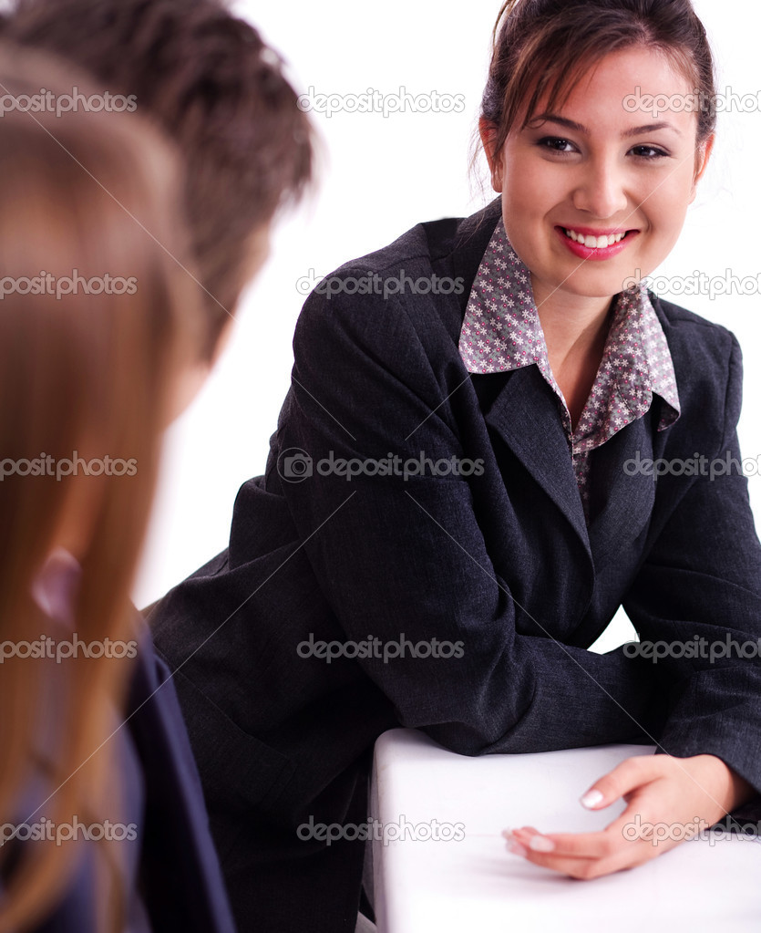 Smiling businesswoman having healthy discussion with fellow mates — Stock Photo #3676766