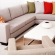 Sofa set with colored cushions — Stock Photo