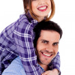 Young lady on piggyride — Stock Photo
