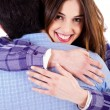 Closeup of lady hugging man — Stock Photo #3715175