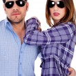 Stylish young couple in action — Stock Photo