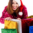 Young lady with christmas gifts — Stock Photo #3715611