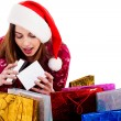 Lady opening christmas gift box — Stock Photo #3715628