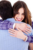 Closeup of lady hugging man — Stock Photo