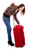 Young lady unzipping her bag — Stock Photo