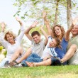Potrait of family waving hands — Stock Photo