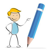 Vector kid with pencil — Photo