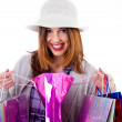 Woman showing her shopping bags — Stock Photo #3744946