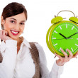 Lady holding alarm clock — Stock Photo