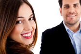 Happy male and female — Stock Photo