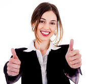 Business women showing thumbs up — Стоковое фото