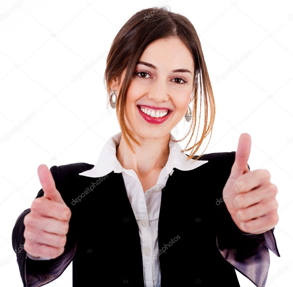 Close up view of Business women showing thumbs up on a isolated white background — Stock Photo #3745048