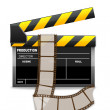 Vector clapboard with reel — Stock Photo