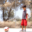 Young player ready to play soccer — Stock Photo