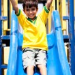 Young smart kid sliding down the swing - Stock Photo