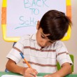 Foto Stock: Portrait of a young boy writing notes