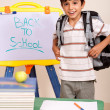 Schoolboy with books and backpack — Stock Photo #3809566