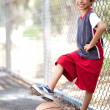 Cute junior boy with basketball — Stock fotografie
