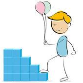 Vector kid climbing blocks with balloons — Stock Photo