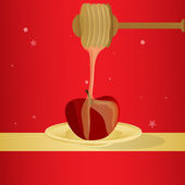 Vector honey and apple — Stock Photo