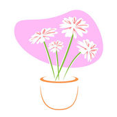 Vector flowers in pot — Stok fotoğraf