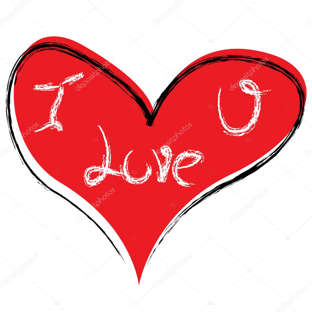 Illustration of vector heart with love you text — Stock Photo #3809013