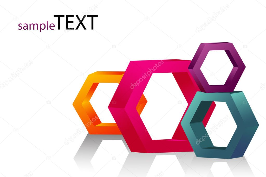 Illustration of vector hexagonal blocks on isolated text template — Stock Photo #3809221