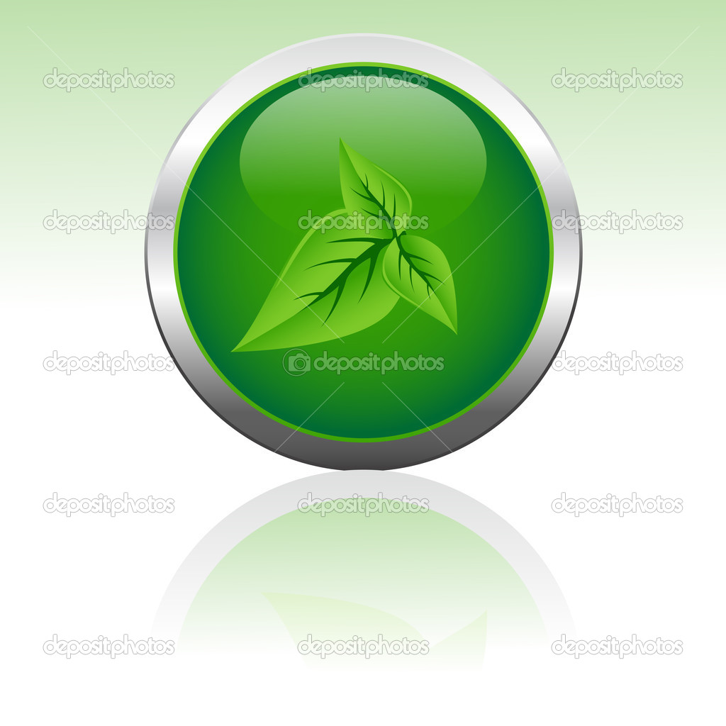 Illustration of vector icon with leaf in it — Stock Photo #3809230