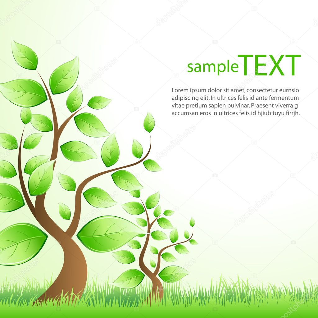 Illustration of text template with trees showing ecology  Stock Photo #3820817