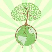 Baum auf globus — Stockfoto