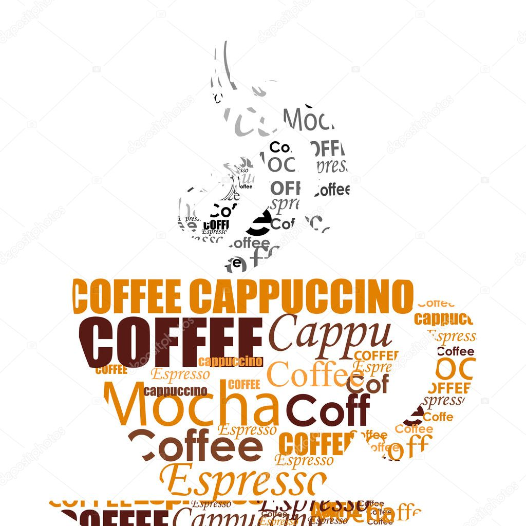 Illustration of typography coffee cup on isolated background — Stock Photo #3848012