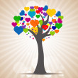 Tree with heart leaves — Stockfoto