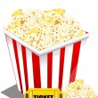 Pop corn with ticket — Stock Photo