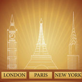 Monuments of london new york and paris — Stock Photo