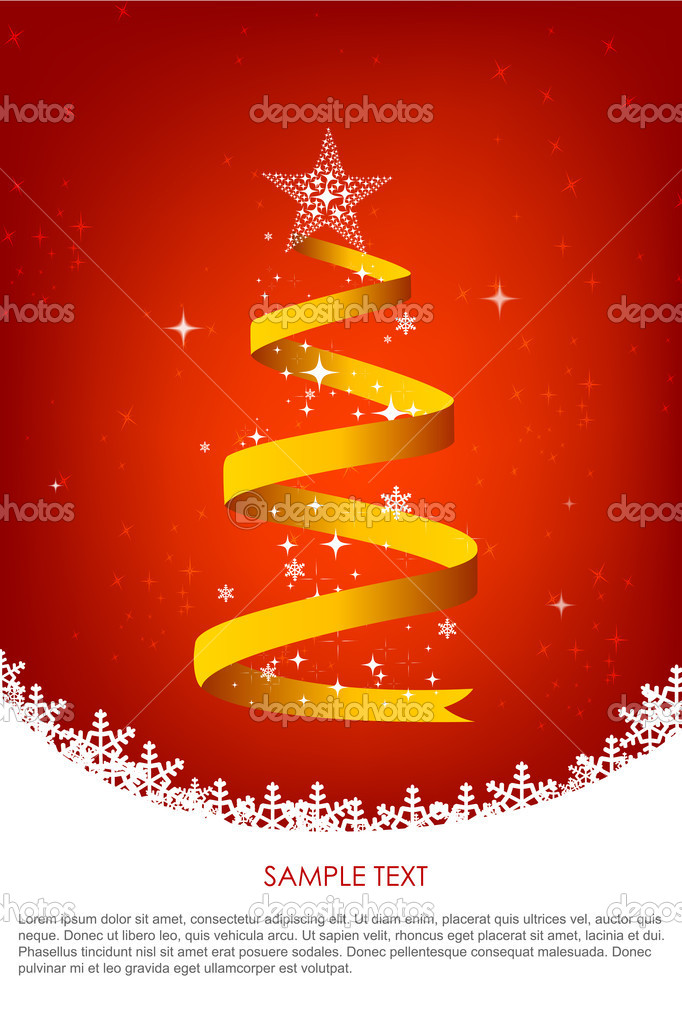 Illustration of christmas background with swirling christmas tree and sample text — Stock Photo #3867181