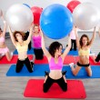 Group of doing pilates in a gym — Stok fotoğraf