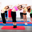 Female stretching in an aerobics exercise class — Stockfoto