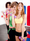 Ladies working out with dumbbells — Stock Photo