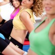 Group of girls working out — Stock Photo
