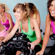 Stock Photo: Female cycling in fitness club