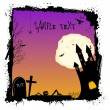 Halloween night with haunted castel - Stock Photo