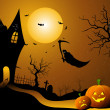 Ghost flying in halloween night - Stock Photo