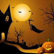 Ghost flying in halloween night — Stock Photo